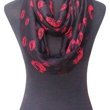 10 шт./партия, женские бесконечный петлевой шарф с принтом губ