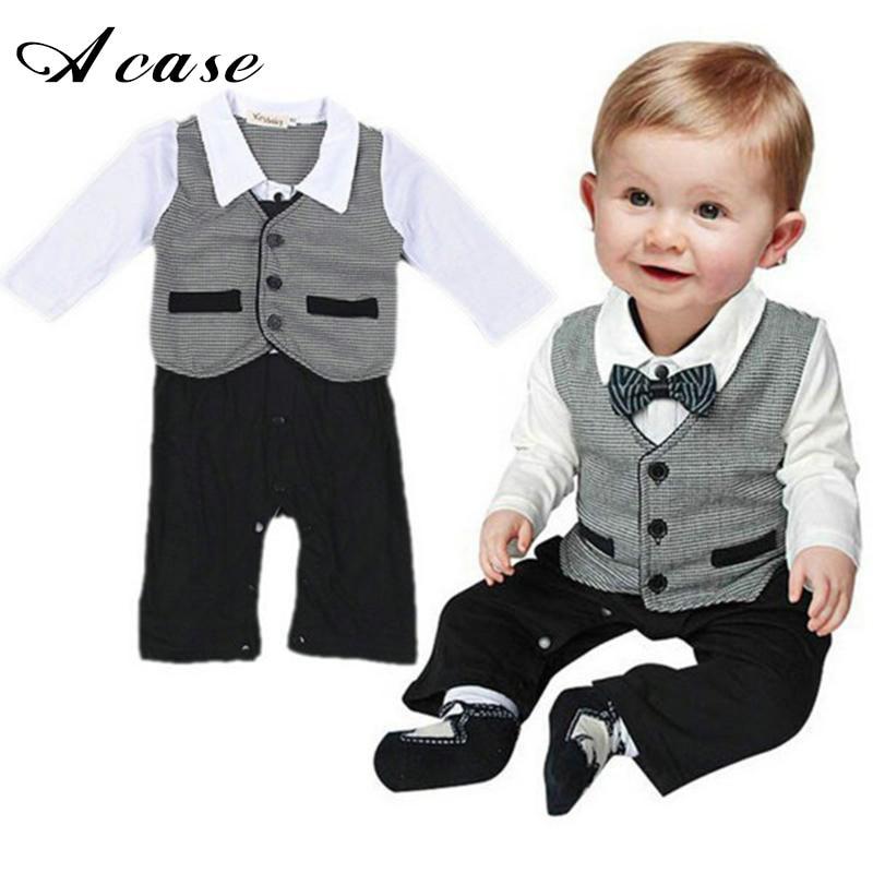 2018 Toddler Boys Clothing Infant Formal Style Gentleman Fake 2  Pieces Clothes Button Necktie Set Romper Shirts Pants Suits creative mustache style infant pacifier