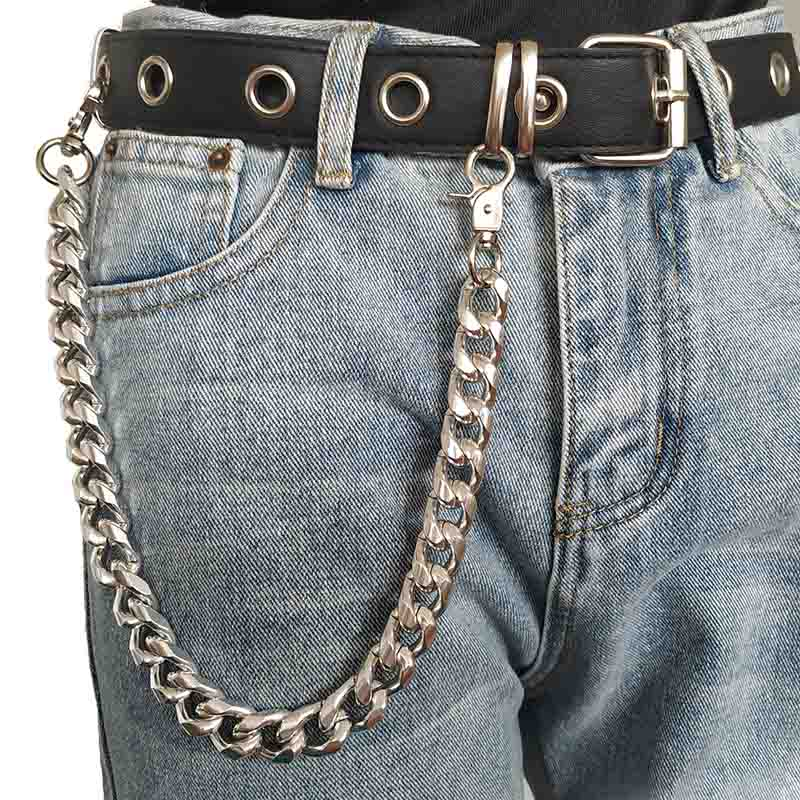 Punk Hip-Hop Trendy Leather Belt Waist Chain Male Pants Chain Wallet Biker Link Jeans Silver Metal Trinket
