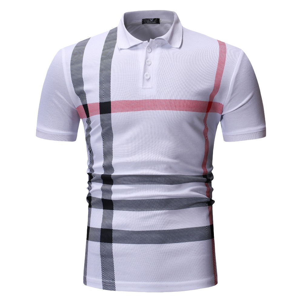 High Quality 2019 Mens   Polo   Shirt Brand Clothing Short Sleeve Business Casual Plaid Designer Homme Camisa Breathable Plus Size