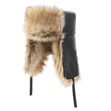 Faux Fur Cap Man Winter Bomber Hats with Warm Cossack Black Russian Hat Pu Leather Faux Fur Warm Earmuffs Bomber  Fluffy Hat