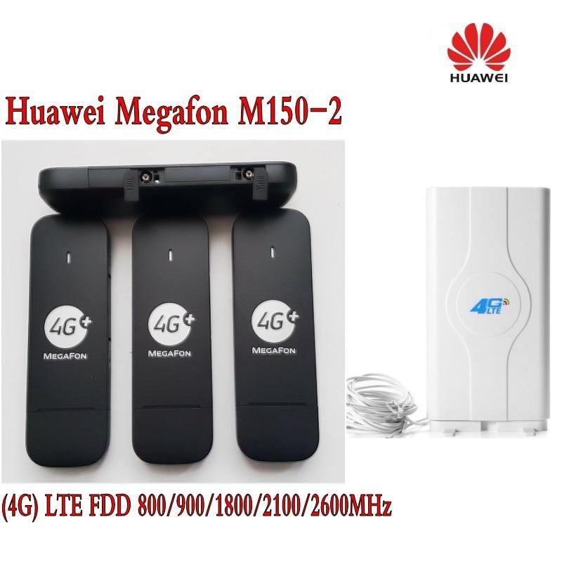 Unlocked Huawei E3372 E3372s M150-2 4G LTE Cat4 USB Stick Modem Broadband Hotspot+ 49dbi CRC9 4g antenna original unlocked huawei e3372 m150 2 lte fdd 150mbps 4g lte modem support lte fdd 800 900 1800 2100 4g crc9 49dbi dual antenna