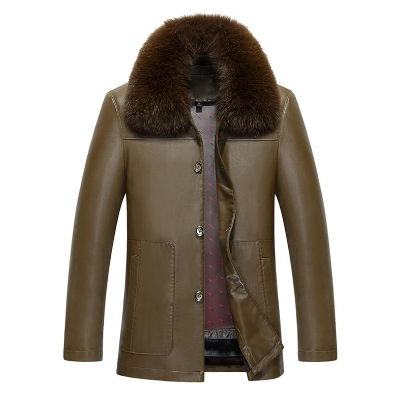 Men's High Fashion Fur Mink Collar Full Length Otter Rabbit Hair Leisure Business Bladder Removable Leather Jacket Men