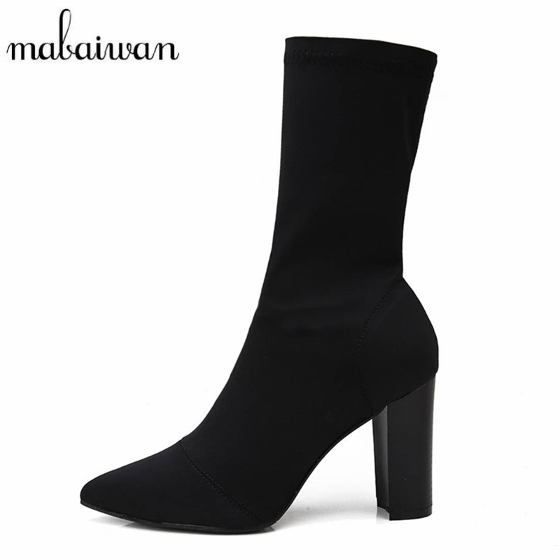 Mabaiwan Fashion Elastic Sock Ankle Boots Chunky High Heels Stretch Women Spring Autumn Booties Pointed Toe Women Pumps Botas fashion kardashian ankle elastic sock boots chunky high heels stretch women autumn sexy booties pointed toe women pumps botas