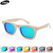VEGA Hand Made Mens Womens Bamboo Sunglasses Polarized New Fashion Bamboo Frame Glasses Coating Mirror Shades VEGA 2008