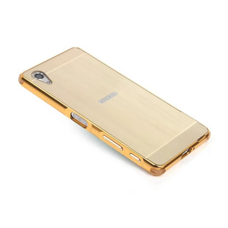 Experia X Performance Cases For Sony Xperia F8131 F8132 Dual Hybrid Gold Plating Aluminum Frame Metal Brushed Back Cover nf315