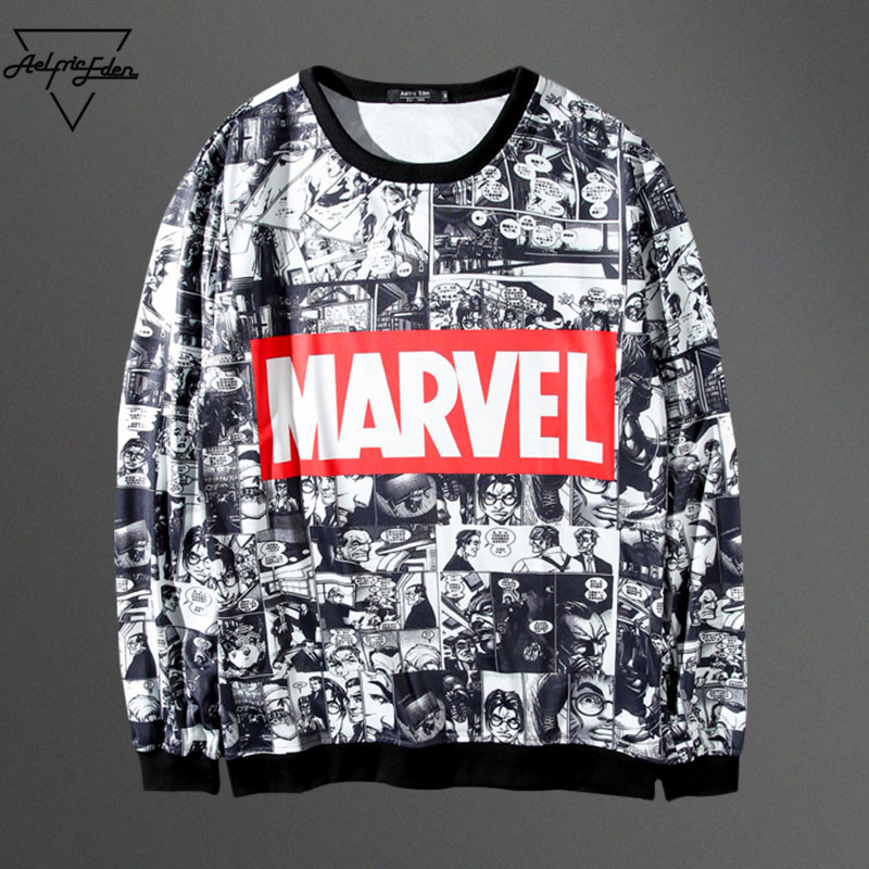 Marvel Printed Female Hoodie Sweatshirt Tracksuit Harajuku Adventure Time Black Sweatwear Women EXO Kpop BTS Anime