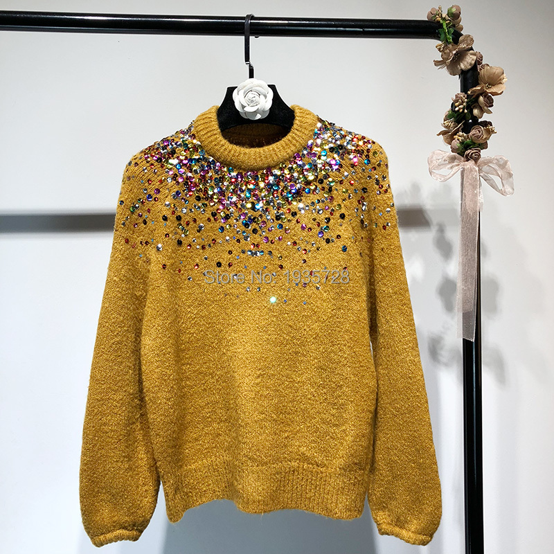 0fd43664a5f 2018 Fashion New Knitted Sweaters Round Neck Front Shiny Colorful Sequins  Long Sleeves Elastic Jumper-in Pullovers from Women s Clothing on  Aliexpress.com ...