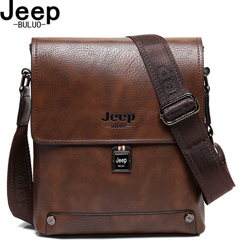JEEP BULUO Brand Man's Business Briefcase Messenger Shoulder Bags Male Totes Man's High Quality Cow Split Leather Bags  5840