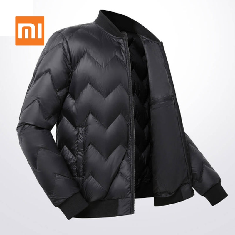 Original Xiaomi ULeemark Men Down Baseball Jacket Casual Cool Zip Jacket Multi Pocket Ultra-light Warm Winter Upper Fluffy Coat