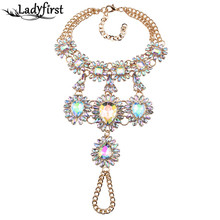 Ladyfirst 2016 New Boho Multicolor Long Foot Chain Summer Beach Luxury Anklets Bracelets Sexy Charm Crystal Anklets Women 3676