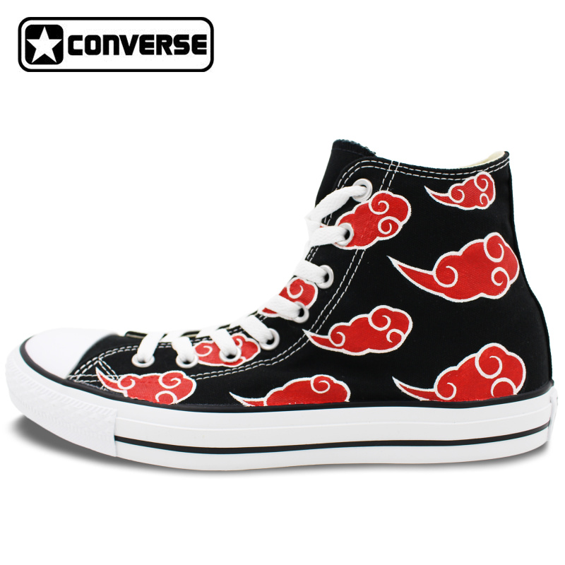 Prix pour Sneakers Hommes Femmes Converse All Star Rouge Nuage Naruto Akatsuki Peint À La Main Chaussures Femme Homme High Top Planche À Roulettes Chaussures Cosplay