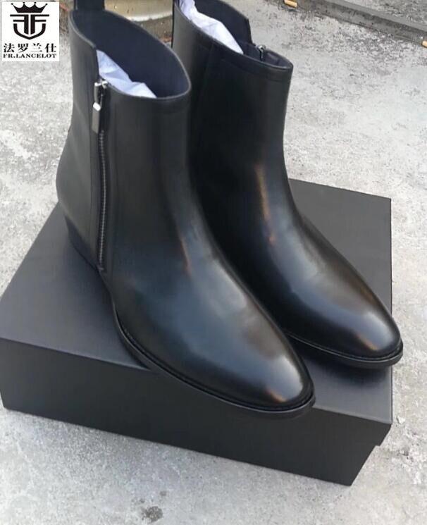 2018 FR.LANCELOT european style men designer boots genuine leather short chelsea boots round toe winter luxury shoes cool men ice hockey men s preliminary round pyeongchang 2018 winter olympics 18 02 12 10h