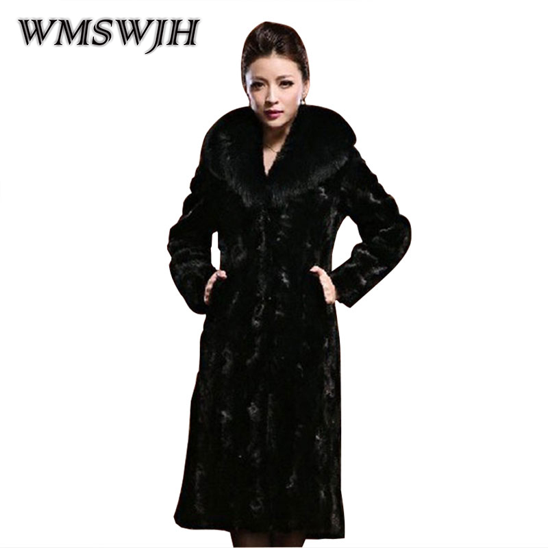 Wmswjh Autumn Winter New Man-made Fur Coat Fashion Women's Imitation Rabbit Fur Collar Mid Long Section Imitation Fur Coat WS92