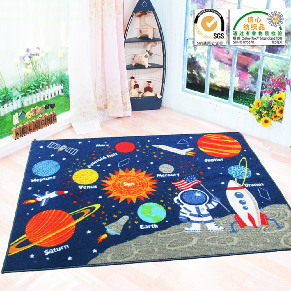 Multifunctional Baby Blue Space Star Game Play Mats Newborn Infant Kid Crawling Carpet Round Rectangle Blanket Floor Rug 2 Style