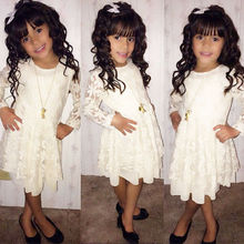 2016 Baby Kids Girls white long sleeve Lace Princess Lovely Dress for age 2-11Y