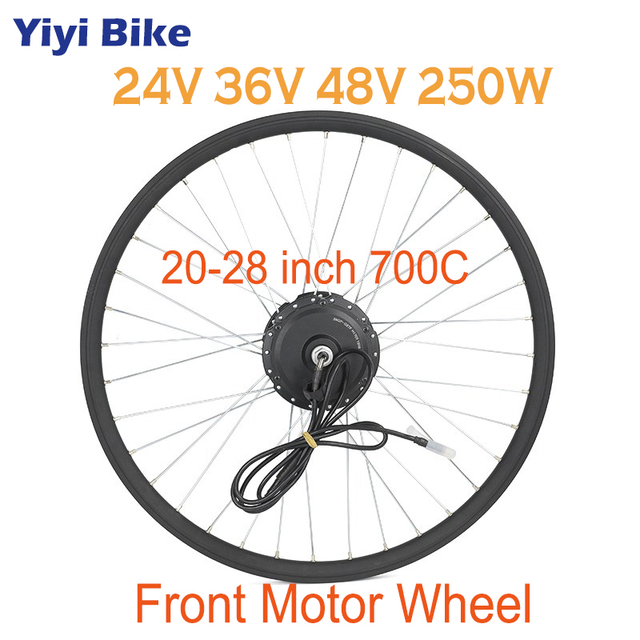 "Electric Bicycle Conversion Kit 24V 36V 48V 250W Spoke Hub Motor Front Wheel For 20"" 24"" 26"" 28"" E bike Part Without Battery"