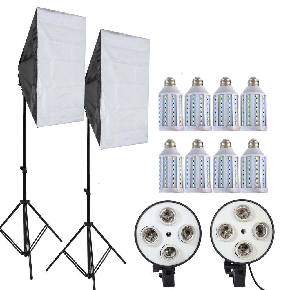 8 pièces 35 w led Ampoule 50*70 cm D'éclairage Continu Softbox pour 4 dans 1 Prise E27 répéteur hdmi avec 2 pièces 2 m pied de projecteur