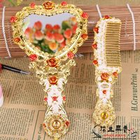 European Style Castle Shuzhuangjing Gift Gift Beauty Mirror Complex Classical Portable Cosmetic Mirror Comb Suit