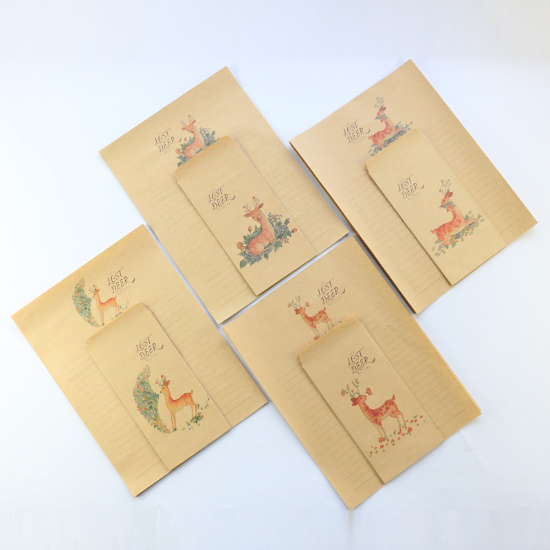 Domikee Vintage A4 Fawn Theme School Student Evelope And Letter Pad Set Stationery,envelope*3 + Letter Paper*6