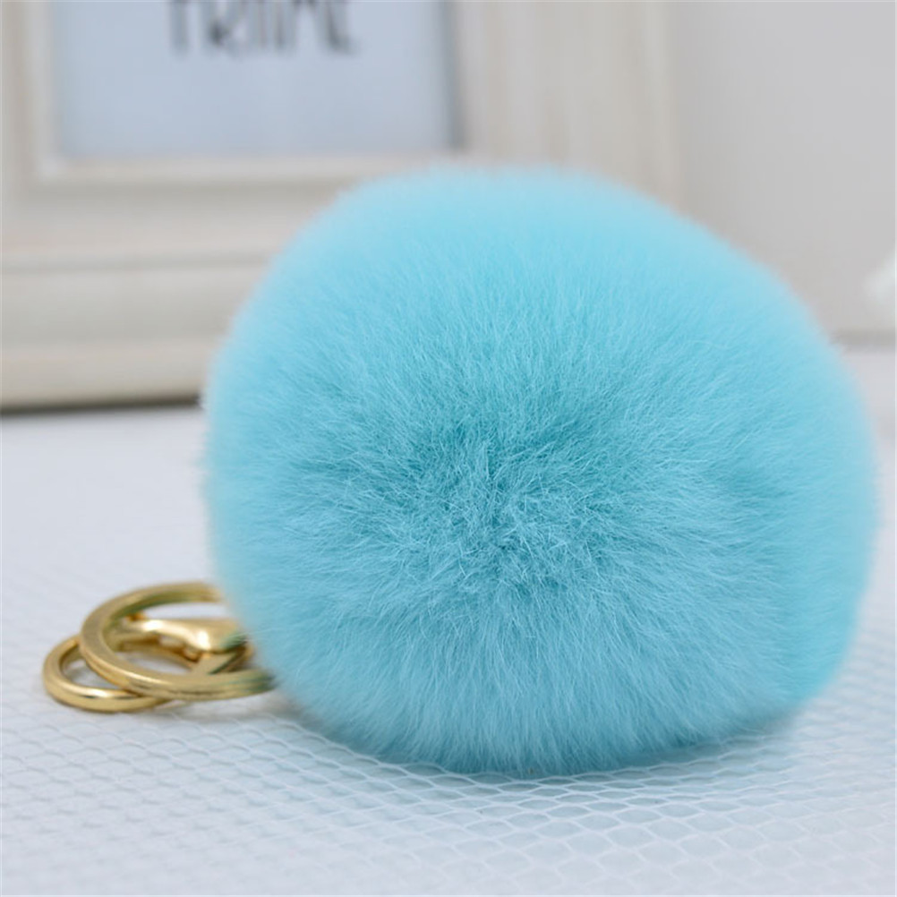 1 Pcs Rabbit Ear Fur Ball Key Chain Rings Cute Pompom Faux Rabbit Fur Keychain Lovely Fluffy Pendant Women Car Bag Key Ring