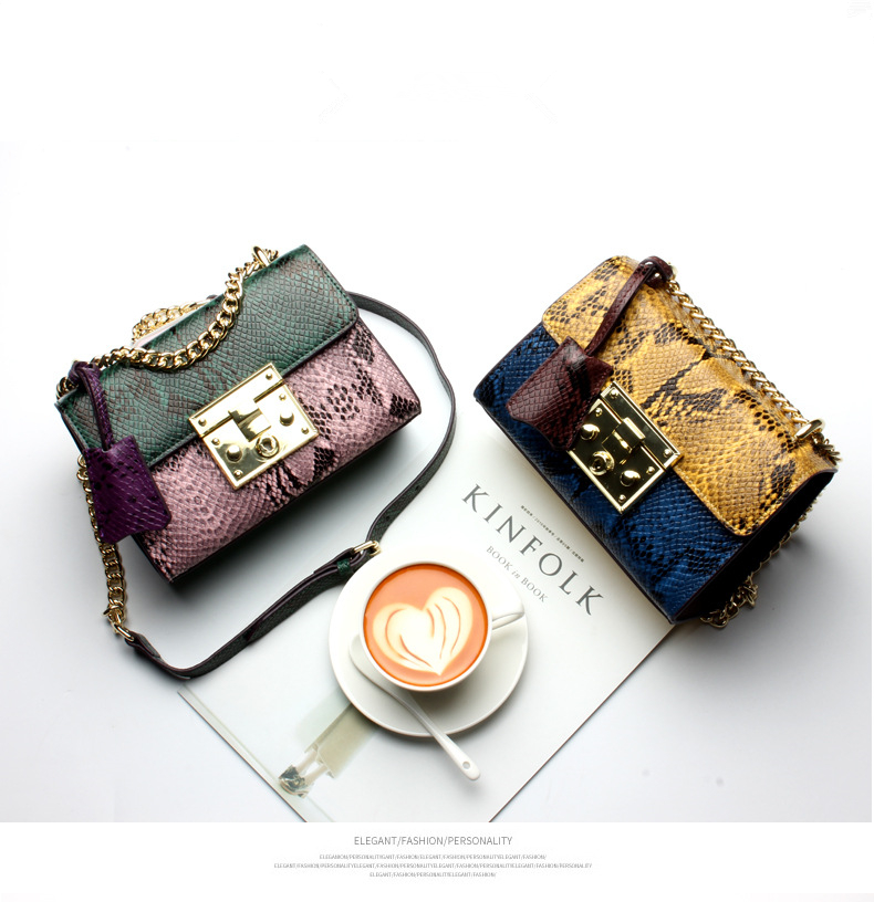 New fashion snake grain cowhide chain bag women small crossbody Messenger bag Genuine Leather handbag in Top Handle Bags from Luggage Bags