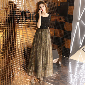 Image 3 - wei yin 2020 Black Long Evening Dress O neck Half Sleeves Ankle Length Lace Evening Dress Formal Party Dress Prom Dress WY1214