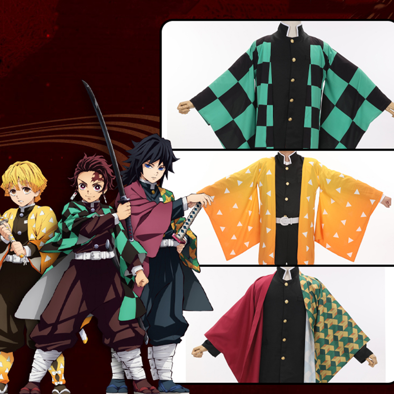 Demon Slayer: Kimetsu No Yaiba Cosplay Costume Kamado Tanjirou Agatsuma Zenitsu Tomioka Giyuu Cloak Cosplay Costume Clothing
