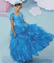 Luxury Blue 2016 Flower Girl Dresses For Weddings Tiered Ruffles First Communion Little Girls Evening Gown Junior Graduation