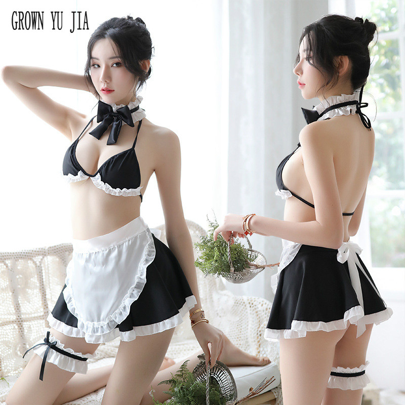 Erotic Women Backless Maid Cosplay Sexy Uniform Porno Temptationmaid French Maid Uniforms Skirt Japanese Lingerie Sex Play Skirt