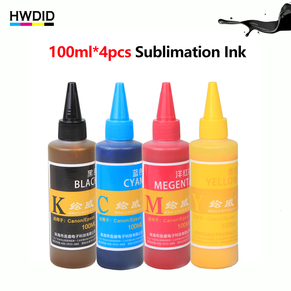 4 x 100ml Sublimation Ink BK C M Y For EPSON Inkjet Printer R230 T50 R270 1390 Heat <font><b>Transfer</b></font> Ink for mug cup t-shirt flag gift