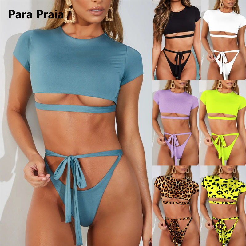 2019 Leopard Bandage Bikini Set Sexy Push Up Bikini Backless Thong Swimwear Brazilian Bathing Suit Women Beachwear