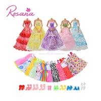 5 Sets Handmade Party Clothes Fashion Dress 12 Pcs Beautiful Mini Skirt With 10 Fashionable Shoes