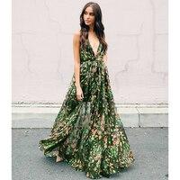 Backless criss cross maxi chiffon dress women sexy summer beach dresses 2019 Flower sleeveless bohemian dress long vestidos