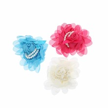 10pcs/lot 3 Colors New Stock Chiffon Rosette Pearl Flower For Infant Children Hair Accessories Candy Color Flower For Hair Band цена