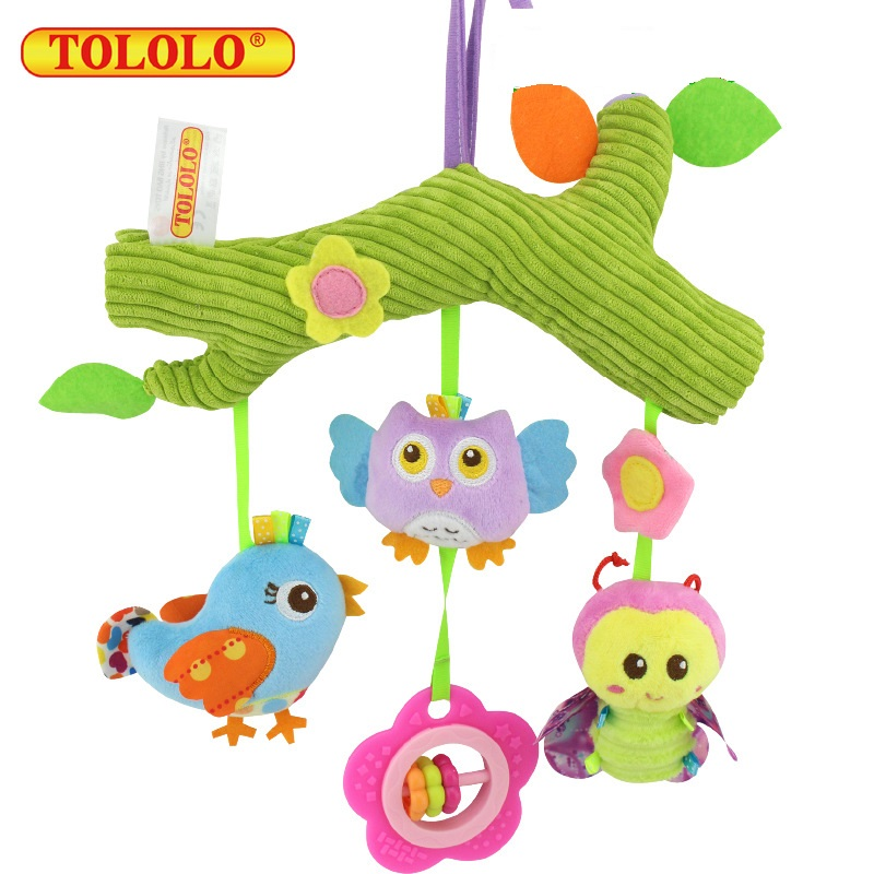 Pastoral Animals Crossbar Type Plush Lathe Hanging Bell Toy Baby Appease Rattle Toy Bed Rail Stroller Rattle