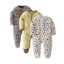 3 Pack Baby Boy Footed Pajamas with Snap Buttons 100% Cotton Baby Boy Footies Sleepers 3-18 Months picturesque childhood new born baby boy clothes 3 1 covered buttono neck footies pajamas original cotton hot sale