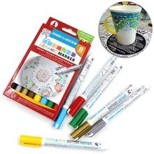 8 Colors Ceramic brush Pen Hand-painted Creative DIY Glass Drawing Marker Pen Free Baked Mug painting paint pen недорого
