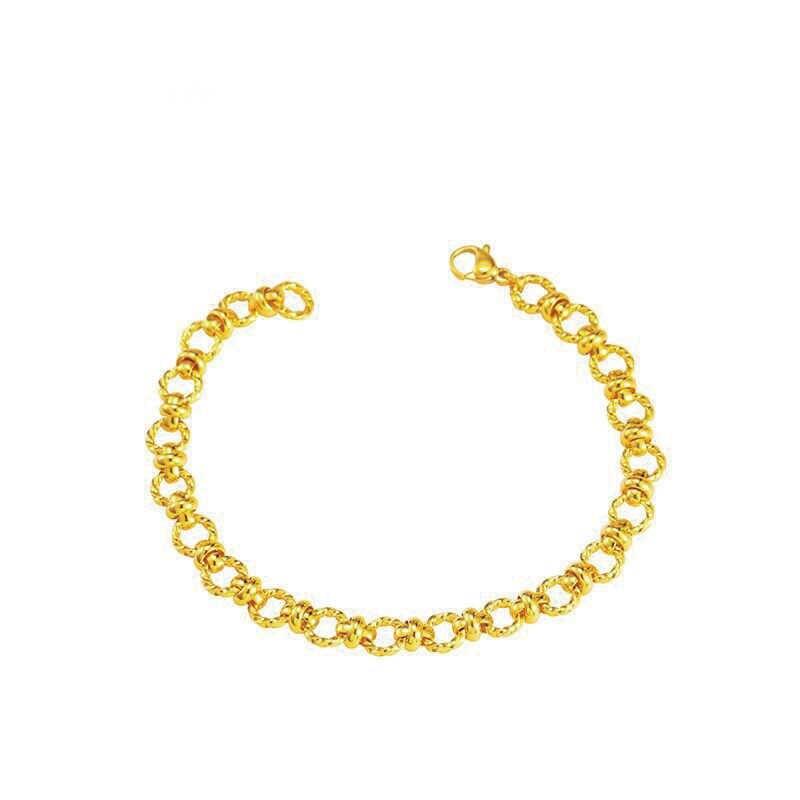 Mxgxفام (18 سنتيمتر x 6 مللي متر) O نمط ربط سوار للنساء الرجال 24 K لون الذهب الخالص مجوهرات الأزياء