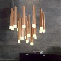 Современные лампы подвесные светильники crylic древесины матч светодио дный крытый светильник потолочный ресторан бар кофе столовая светоди