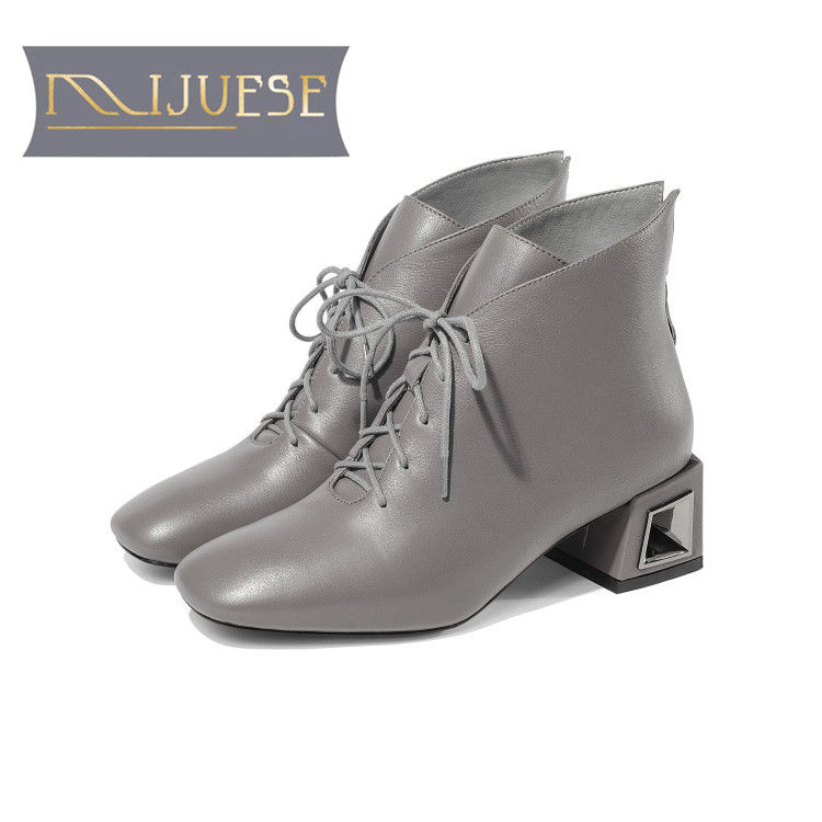 MLJUESE 2019 women ankle boots soft cow leather winter warm fur gray color women riding boots