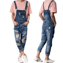 jeans men 2019 New Mens Bib Overalls Modis Ankle Length Denim Men Ripped Jeans Male Jumpsuit Tooling trousers