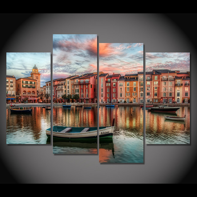 4 Pcs/Set Framed HD Printed Boats Orlando Buildings Picture Wall ...