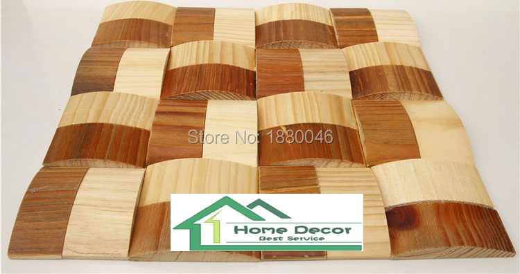Curve Design Art Mosaic For Decoration Wall Tile 3D pine wood mosaic ...