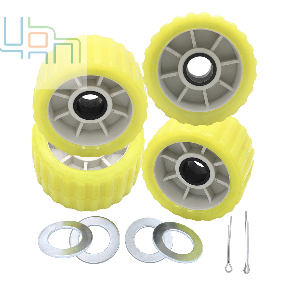 Boat Trailer Amber/Yellow Poly Ribbed Wobble Roller Kit 5/Ribbed PVC Long-Lasting Vinyl  Amber Rol