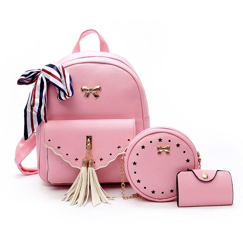 Bag Vestito Borsa Posteriore Cuoio Signore Ragazza Zaino Nero Colore Carina Rosa bianco Da Candy Fumetto Il Set Tre Viaggio Pu Nuovo Del colore grigio 2017 f4q858