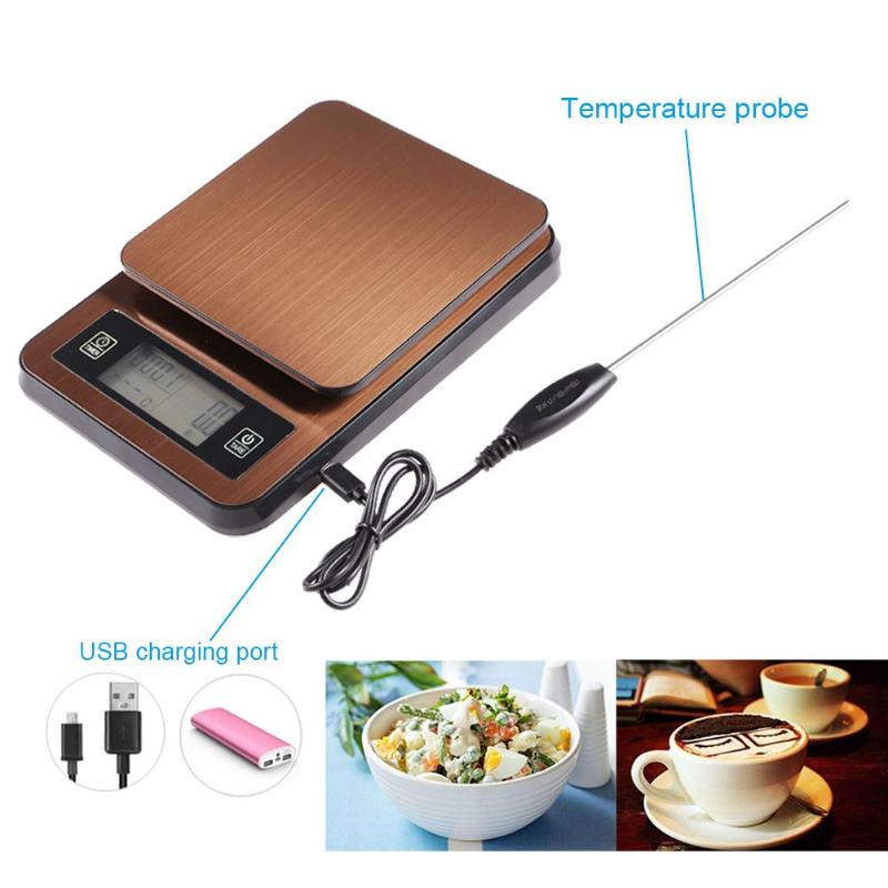 LCD Digital Electronic Jewelry Weighing Home Coffee Scale Timer with Probe Multi function Food Kitchen Scale with LCD Display