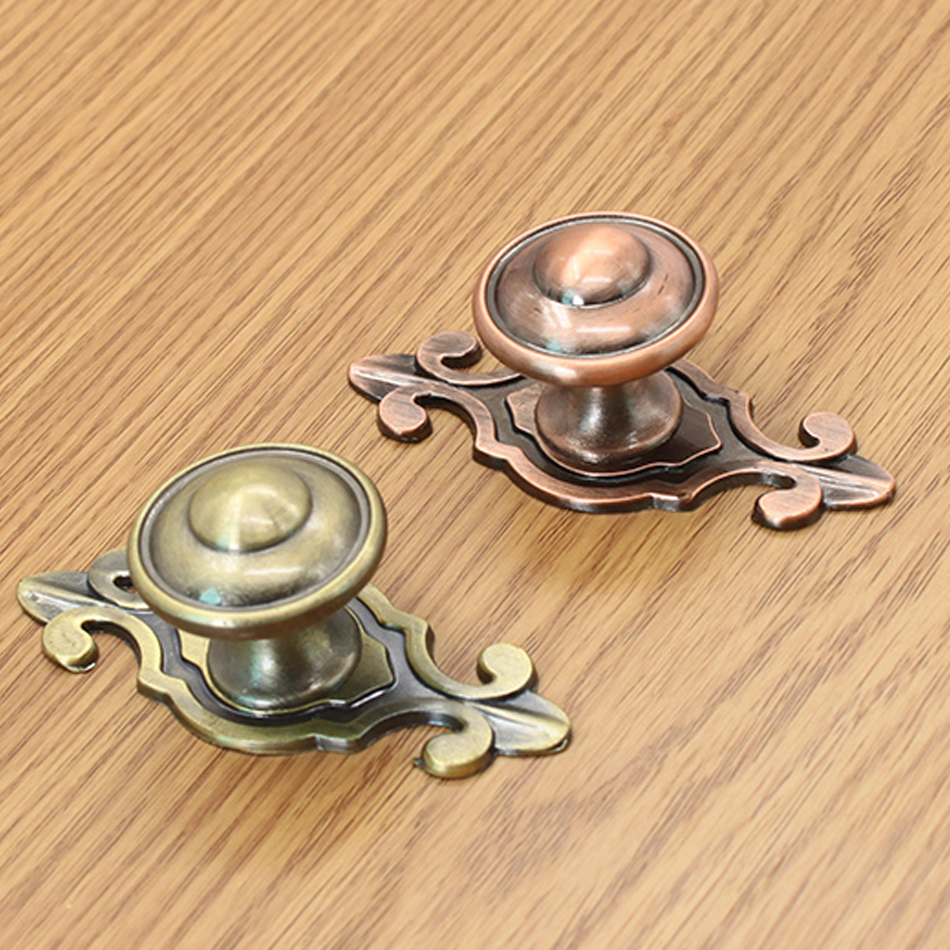 Antique door pulls knobs - 10pcs Antique And Red Bronze Vintage Cabient Drawer Pulls Knobs Copper Plating Kitchen Knob Handle Wine