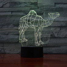 Dromedary camel LED Night Light 3D Illusion Decorative Child Kids Girl Gift Animals Camel Desk Lamp Bedside Decor