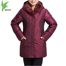 Plus size 6XL Middle-aged Women Winter Down cotton Jackets Liner can be Disengaged Coats New Fashion Hooded Loose Parkas OKXGNZ